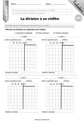 Division à un chiffre - CM2-  Evaluation - Bilan