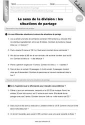 Sens de la division, situation de partage - CM2 - Evaluation - Bilan