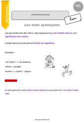 J'identifie les synonymes. - CE1 - Leçon