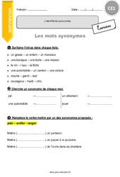 J'identifie les synonymes. - CE1 - Exercices à imprimer
