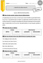 J'identifie les déterminants. – CE2 – Exercices à imprimer