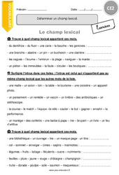 Déterminer un champ lexical. – CE2 – Exercices avec correction