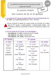Je maîtrise les verbes du 2e et 3e groupe au passé simple de l'indicatif. – CM2 – Leçon