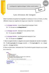 Je distingue les 3 registres de langue familier, courant, soutenu - CM2 - Leçon