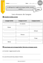 Je distingue les 3 registres de langue familier, courant, soutenu - CM2 - Exercices à imprimer