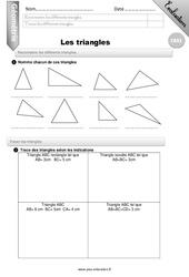 Reconnaitre les différents triangles – CM2 – Evaluation – Bilan