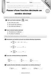 Connaitre la valeur des chiffres dans une fraction décimale. – CM2 – Evaluation – Bilan