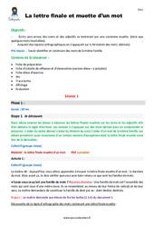 Lettre finale et muette d'un mot – CM1 – Fiche de préparation