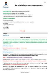 Pluriel des mots composés – CM2 – Fiche de préparation