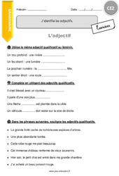 J'identifie les adjectifs. – CE2 – Exercices à imprimer