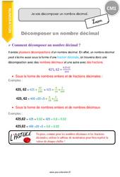 Je sais décomposer un nombre décimal. - CM1 - Leçon