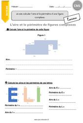 Je sais calculer l'aire et le périmètre d'une figure complexe. – CM1 – Exercices avec correction