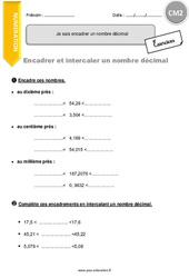 Je sais encadrer un nombre décimal – CM2 – Exercices à imprimer