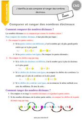 Comment comparer et ranger des nombres décimaux. - CM2 - Leçon