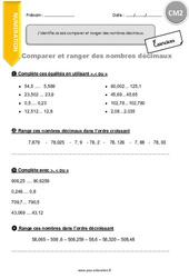 Je sais comparer et ranger des nombres décimaux. – CM2 – Exercices avec correction