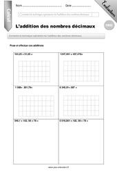L'addition des nombres décimaux - CM2 - Evaluation - Bilan