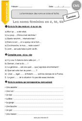 La terminaison des noms en [é] [ée] et [té] [tié]. – CM1 – Exercices à imprimer