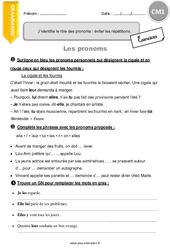 J'identifie le rôle des pronoms : éviter les répétitions. – CM1 – Exercices à imprimer
