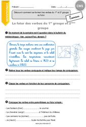 Découvrir comment se forment les verbes du 1er et 2e groupe au futur. – CM1 – Exercices avec correction