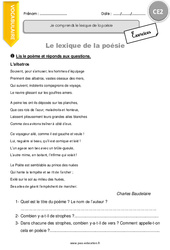 Je comprends le lexique de la poésie. – CE2 – Exercices à imprimer