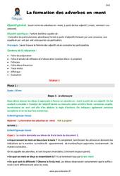 La formation des adverbes en -ment – CM2 – Fiche de préparation