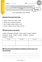 Différents mots d'une même famille - CM2 - Exercices avec correction