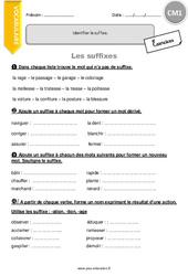 Suffixes – CM1 – Exercices à imprimer