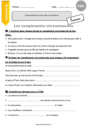 Comprendre la notion de circonstance. - Exercices avec correction - CM1