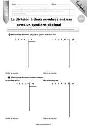 Division d'entiers avec quotient décimal – Evaluation – Bilan – CM2