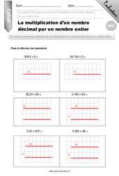 Multiplication d'un décimal par un entier – Evaluation – Bilan – CM2