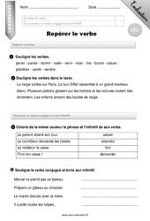 Repérer le verbe – Evaluation – Bilan – CE1