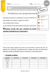 Je sais résoudre des problèmes de proportionnalité - Exercices à imprimer - CM1