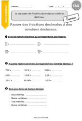 Je sais passer des fractions décimales aux nombres décimaux - CM1 - Exercices avec correction