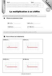 Multiplication à un chiffre – Evaluation – Bilan – CM1