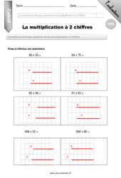 Multiplication à 2 chiffres – Evaluation – Bilan – CM1