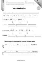 La calculatrice – Evaluation – Bilan – CM1