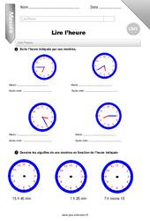 L'heure – Evaluation – Bilan – CM1
