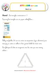 Triangles constructeurs – Vie sensorielle – Liste des matériaux
