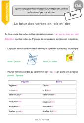 Verbes au futur simple des verbes se terminant par –oir et -dre – CM1 – Leçon
