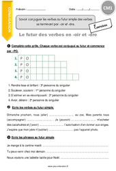 Verbes au futur simple des verbes se terminant par –oir et -dre – CM1 – Exercices à imprimer