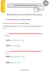 Décomposer des nombres décimaux - Leçon - CM1