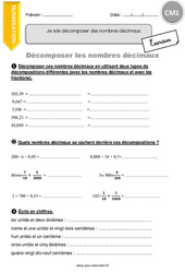 Décomposer les nombres décimaux - Exercices avec correction - CM1