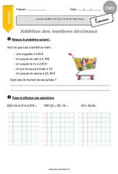 Additionner les nombres décimaux. - CM1 - Exercices à imprimer