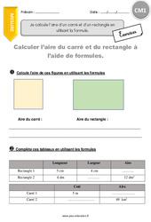 Aire d'un carré et d'un rectangle en utilisant la formule – Exercices à imprimer – CM1