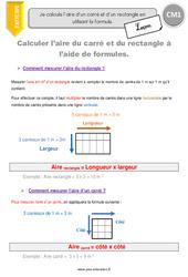 Aire d'un carré et d'un rectangle en utilisant la formule – Leçon – CM1