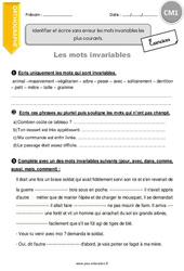Identifier et écrire sans erreur les mots invariables les plus courants - CM1 - Exercices à imprimer