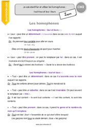 Homophones – CM2 – Leçon