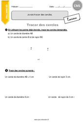 Tracer des cercles – CM1 – Exercices avec correction