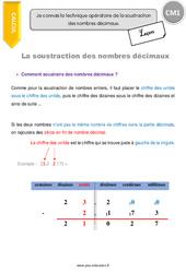 Technique opératoire de la soustraction des nombres décimaux – CM1 – Leçon