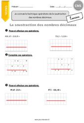 Technique opératoire de la soustraction des nombres décimaux – CM1 – Exercices avec correction
